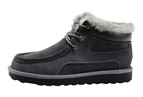 Rock Me Men'S Thicker Wool Leather Flat Waterproof Ankle Snow Boots Iii (10 D(M) Us, Gray) Top Material With Excellent Craftsmanship. About 1.3Kg For A Pair; Waterproof Leather Upper Helps To Keep Feet Dry. Outsole. It Is The Groove Design To Keep Strong