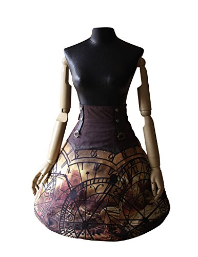 Exclusive-Vintage-Steampunk-Designer-High-Waist-Knee-Length-Buckles-Skirt