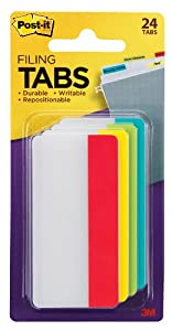 Durable File Tabs, 3 x 1 1/2, Solid, Assorted Primary Colors, 24/PK, Sold as One Pack