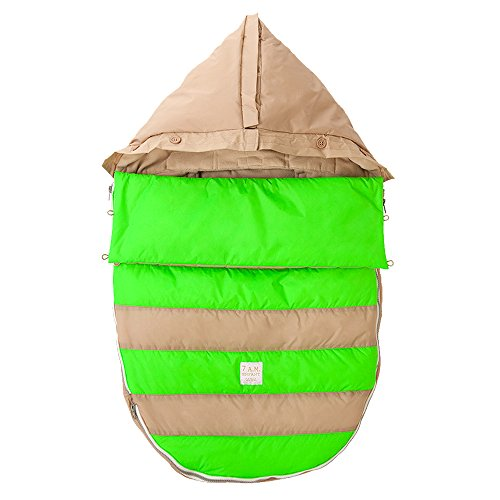 7AM Enfant Bee Pod Baby Bunting Bag for Strollers and Car-Seats with Removable Back Panel, Beige/Neon Green, Small/Medium