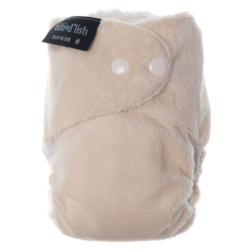 Itti Bitti d'Lish snap-in-one nappy, ivory, medium (14.5-26.5lbs), minkee outer, microfibre, bamboo and organic cotton inner