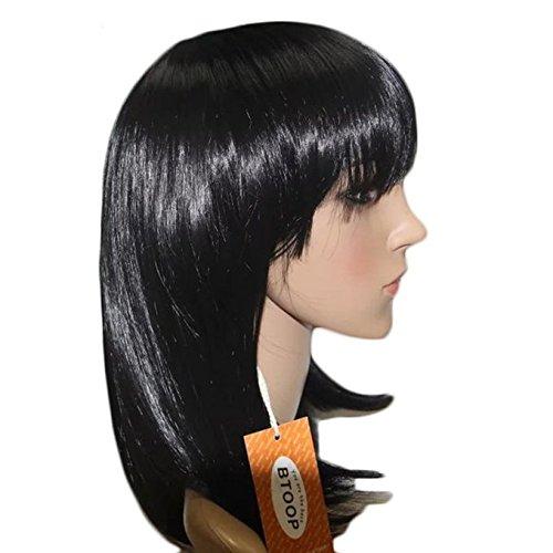 [BTOOP 14'' Short Bob Wigs Straight with Bangs Cosplay Wigs for Women (Black)] (Black Bob Wig With Bangs)