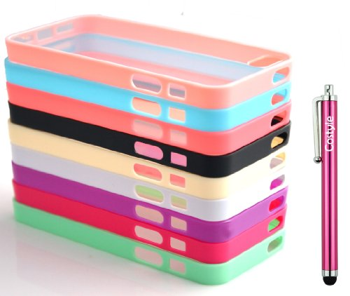 Costyle 9pcs/lot Colors Colorful Soft Trim High Clear Back Hard Cover Bumper Slim Case Skin for iPhone 5 5G 5S 5GS+2pcs Screen Protector+Free Crystal Stylus Touch Pen Wholesale Price -Black White Hot
