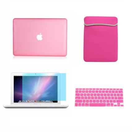 TopCase 13-Inch Macbook White A1342/Latest 4-in-1 Bundle Rubberized Pink Hard Case Cover with Matching Color Soft Sleeve Bag ,Silicone Keyboard Cover,LCD HD Clear Screen Protector and TopCase Mouse Pad (Pink Package compare prices)