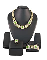 Green Crystals In Golden Color Jewellery Set With Bracelet