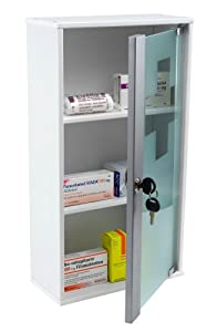 Medizinschrank Medikamentenschrank Arzneischrank Apothekerschrank mit Schloss aus MDF-Holz