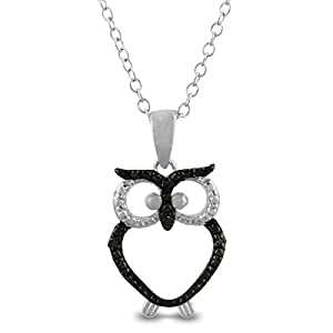Trendy Black Diamond Owl Necklace in Sterling Silver