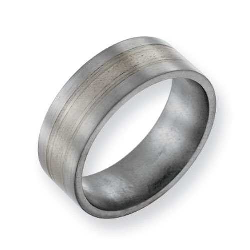 Titanium Sterling Silver Inlay 8mm Brushed Comfort Fit Wedding Band Ring (SIZE 8.5 )