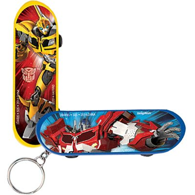 Amscan Mighty Transformers Birthday Skateboard Keychain (1 Piece), Red/Yellow, 3 1/8 x 1""