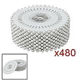 Gleader 480 pz spillo con punta perle plastica 3mm lunghezza 1,5'' tono argento