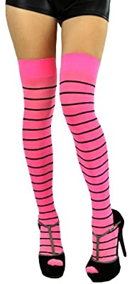 ToBeInStyle Women's Thin Striped Thigh Hi Stocking