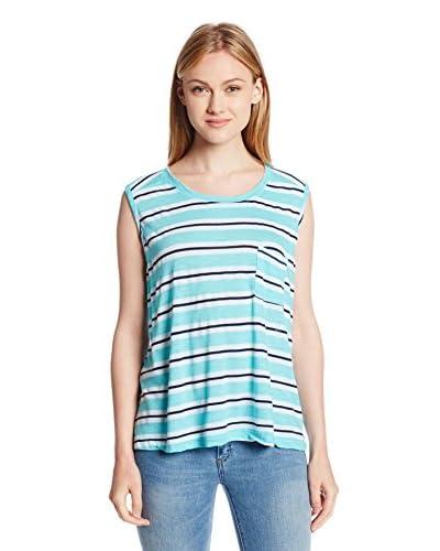 Michael Stars Women's Mercer Stripe Sleeveless Crop Tank with Pocket