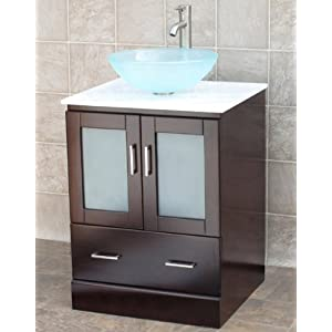 "Amazon.com: 24"" Bathroom Vanity Cabinet Glass Vessel Sink Faucet"