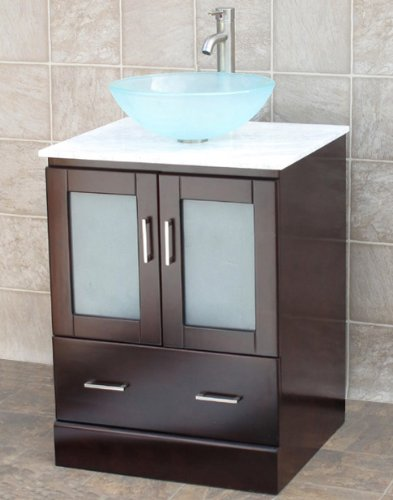 24 Bathroom Vanity CabiWhite Tech StoneQuartz Top Glass Vessel
