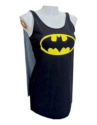 "Batman Loungewear, Womens Batman Loungewear, Tank Style Night Shirt & Cape, Small (USA 4 - 6), Bust 30 - 32"""