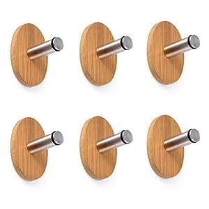 adhesive hooks oak leaf 6 pcs heavy duty wood stainless steel decorative stick. Black Bedroom Furniture Sets. Home Design Ideas