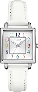 Timex Women's T2P377 Elevated Classics Rectangle Multicolor Dial Leather Strap Watch