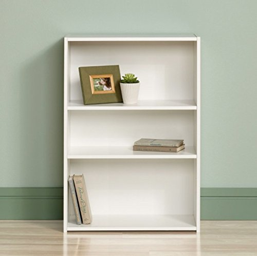 Sauder Small Modern 3 Shelf Bookcase - Small, Mini and Narrow Bookcase for Home or Office - Place It in Every Corner in Your House - Low Bookcase - Perfect for Kids - Modern Style -Can Store Books, Files, Cd, Dvd - White Color - Made in the USA! Narrow 3 Shelf Bookcase