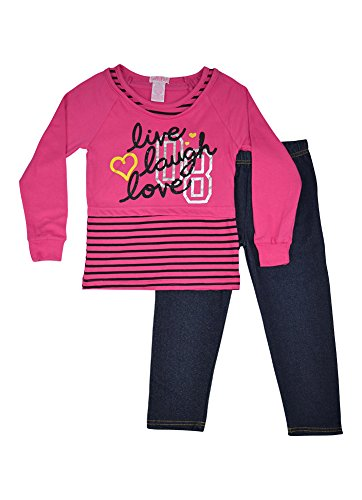 Alfa Global Little Girls Long Sleeved Shirt And Leggings Set Pink 5T back-518477