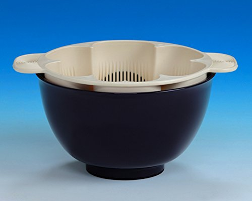 銀しゃり名人 茄子紺 手を濡らさず美味しいご飯が炊ける米とぎ器 1合?5合用