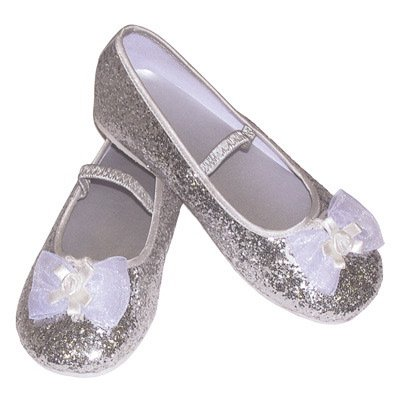 Silver Glitter Party Shoes - Kids Accessory 9 - 10 years