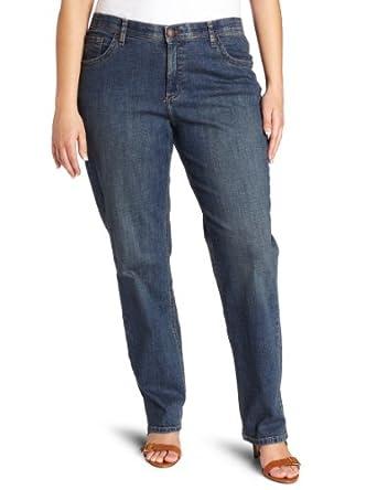 Lee Women's Plus-Size Comfort Fit Milan Straight Leg Jean, Caspian Handsand, 14W Petite
