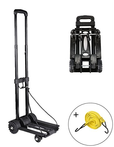 Folding Hand Truck, 70 Kg/155 lbs Heavy Duty 4-Wheel Solid Construction Utility Cart Compact and Lightweight for Luggage, Personal, Travel, Auto, Moving and Office Use - Portable Fold Up Dolly (Package Cart compare prices)