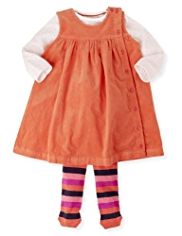 3 Piece Cotton Rich Corduroy Dress, Spotted Bodysuit & Tights Outfit