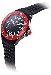 40Nine Unisex 40NINE02/BLACK/RED Large 45mm Analog Display Japanese Quartz Black Watch
