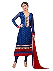 1 Stop Fashion Wear this Eye catching attire and get noticed in your circle. Blue color Georgette top is Attractive Heavy Embroidery work & Lace Work. Blue santoon bottom and Red Chiffon cotton dupatta is combined perfectly in this dress material. This stylish attire will enhance your charm. Accessories shown in the image are for photography purpose. (Slight color variation is possible)