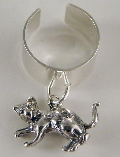An Adorable Little Teddy Bear on an Ear Cuff in Sterling Silver