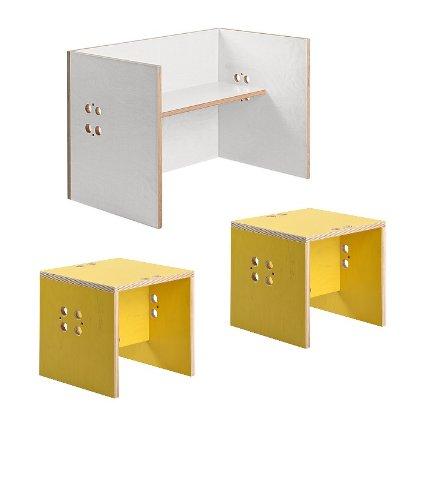 Kindersitzgruppe – Kindermöbel – 2 Kinderstühle + 1 Kindertisch / Bank (Stühle / Hocker gelb, Tisch / Bank weiß)