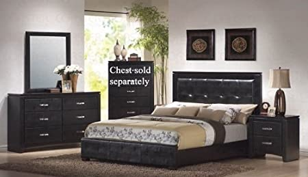4pc Queen Size Bedroom Set in Black Finish