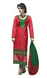 7 Colors Lifestyle Red Coloured Embroidered Cotton Jacquard Unstitched Dress Material