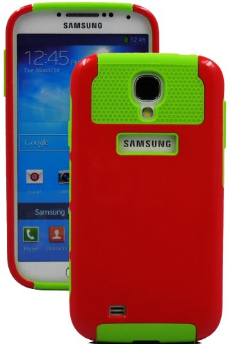 """Mylife (Tm) Red And Green - Classy Design (2 Piece Hybrid Bumper) Hard And Soft Case For The Samsung Galaxy S4 """"Fits Models: I9500, I9505, Sph-L720, Galaxy S Iv, Sgh-I337, Sch-I545, Sgh-M919, Sch-R970 And Galaxy S4 Lte-A Touch Phone"""" (Fitted Back Solid Co"""
