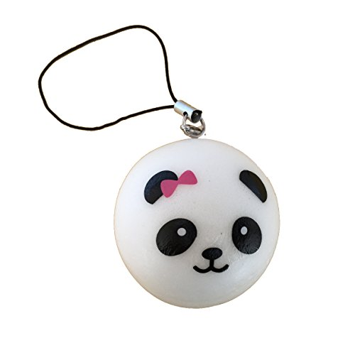 panda bear bun with pink bow squishy cellphone charm - 1