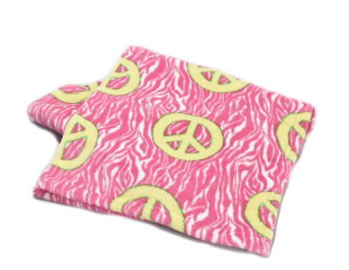 Jr. Delightful Patterns Toddler Blanket with Green Peace Signs on Raspberry Zebra Stripes