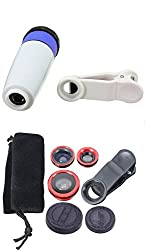 PH Artistic Universal 12x Zoom Universal Mobile Phone Telescope Camera Lens, Universal Clip Holder With 3in1 Universal Mobile Lens Kit - White