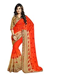 Jay Deep Faux Georgette Saree In Cream Orange Colour For Party Wear