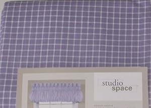 Studio Space Purple Check Blouson Window Valance Lavender Topper Curtain