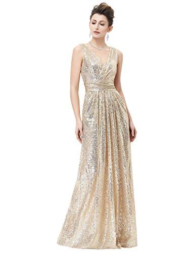 Women's Beaded Sequined Bridesmaids Wedding Dress Light Gold Size 6 KK199