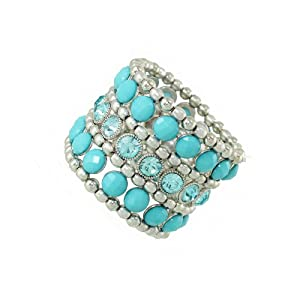 Silver Tone Stretch Bangle Bracelet with Blue Crystals 1.80
