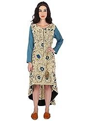 Beige And Blue Hand Painted Kalamkari Cotton Dress