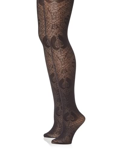 Emilio Cavallini Women's 2-Pack Lace Jacquard Tights  - Black
