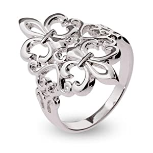 Sterling Silver Filagree Fleur de Lis Ring Size 9 (Sizes 6 7 8 9 Available)