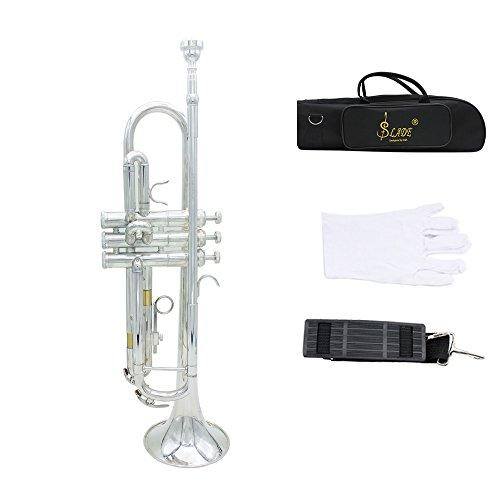 Andoer 金管楽器 高品質 2色選択 セット トランペット (マウスピース/ストラップ/ 手袋/ ケース付き)Bb B フラット 黄銅製 音楽愛好者対応