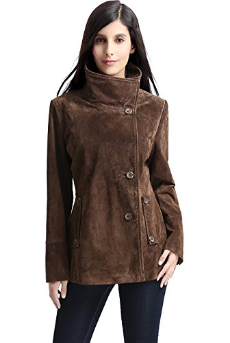 "BGSD Women's ""Aria"" Cocoon Funnel Neck Suede Leather Jacket - Brown Plus 1X"