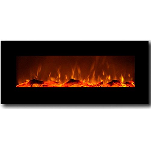 "Moda Fire Houston 50"" Electric Wall Mounted Fireplace Black"