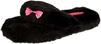 Betsey Johnson Women's Between The Sheets Fluffy Flip Flop Slipper, Black, Medium