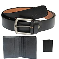 eXCorio Casual Genuine Leather Belt and Genuine Leather card Holder